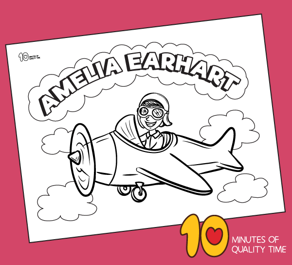 amelia earhart coloring page