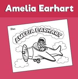 Amelia Earhart Coloring Page