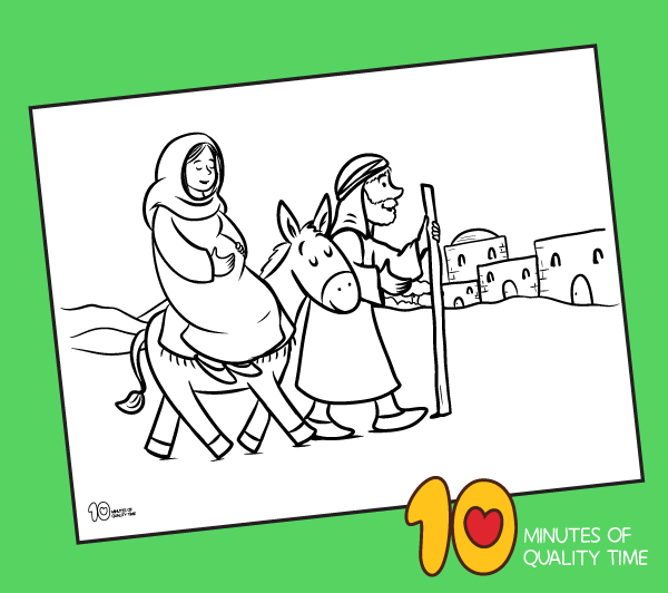 mary and joseph go to bethlehem coloring page
