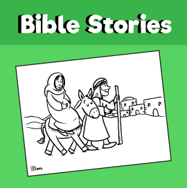 Mary and Joseph Travel to Bethlehem Coloring Page