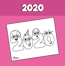 2020 New Year Coloring Page