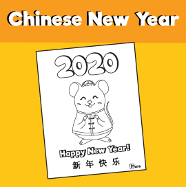 Chinese New Year 2020 Free Rat Coloring Page
