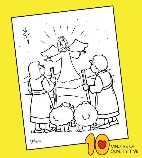 coloring page of shepherds nativity