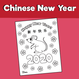 2020 Year of the Rat Coloring Page