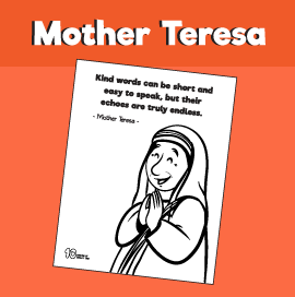 Mother Teresa Quote - Kind Words Coloring Page