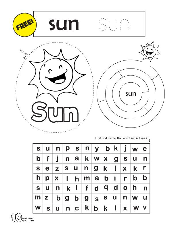 reading worksheets for kindergarten