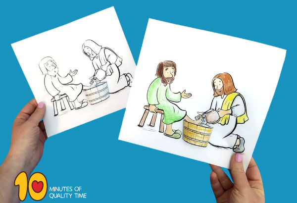 jesus washing feet clipart