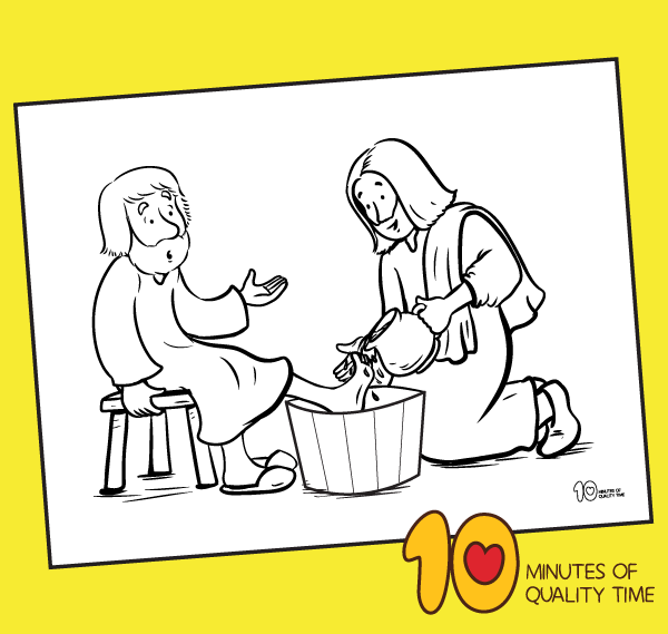 Coloring Page Jesus Washes Feet Of Disciples Royalty Free Cliparts ... | 569x600