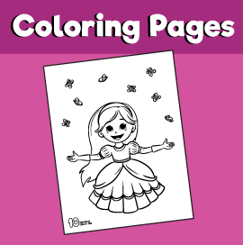 Princess With Flying Butterflies Coloring Page