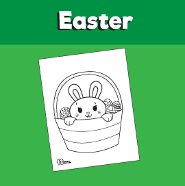 Easter Bunny in a Basket Coloring Page
