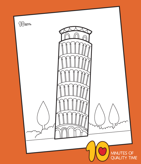 leaning tower of pisa coloring sheet