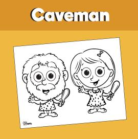 Caveman Coloring Page