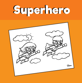 Flying Superhero Coloring Page