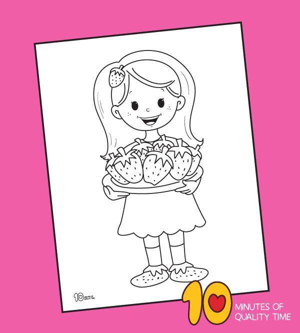 strawberry coloring page printable