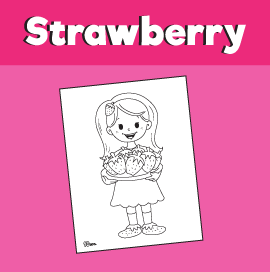 Girl With Strawberries Coloring Page