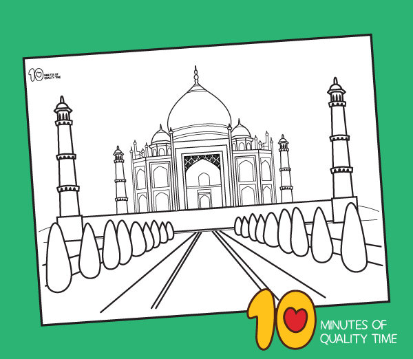 taj mahal colouring sheet