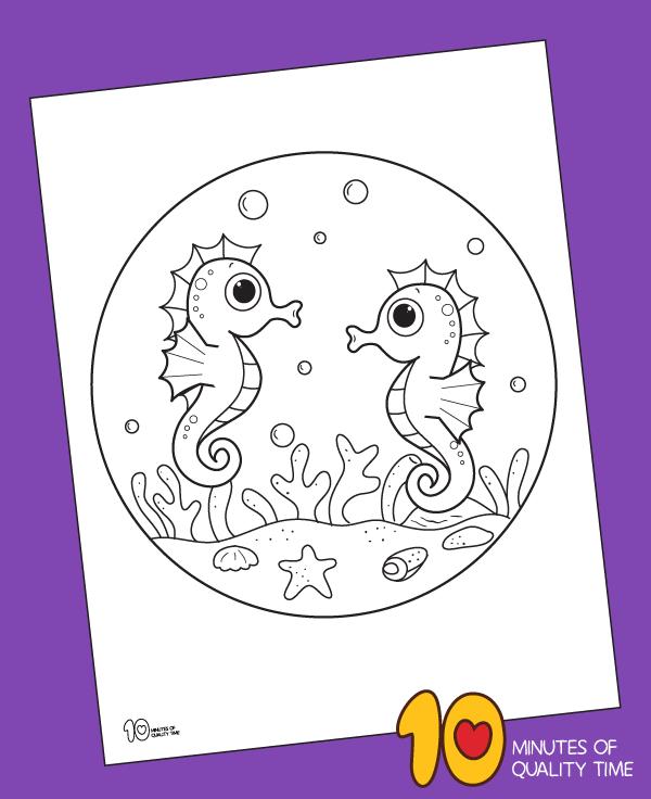 seahorse coloring page printable