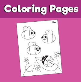 Bees and Ladybug Coloring Page
