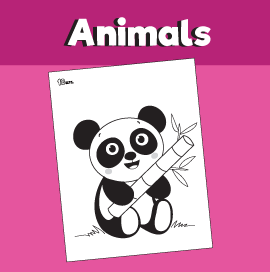 Panda Holding Bamboo Leaf Coloring Page