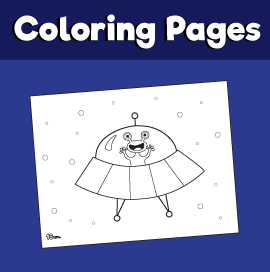 Alien in a Spaceship coloring Page