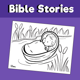 Baby Moses In The Basket Coloring Page
