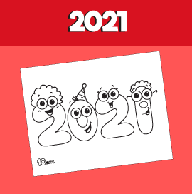 2021 New years free coloring page