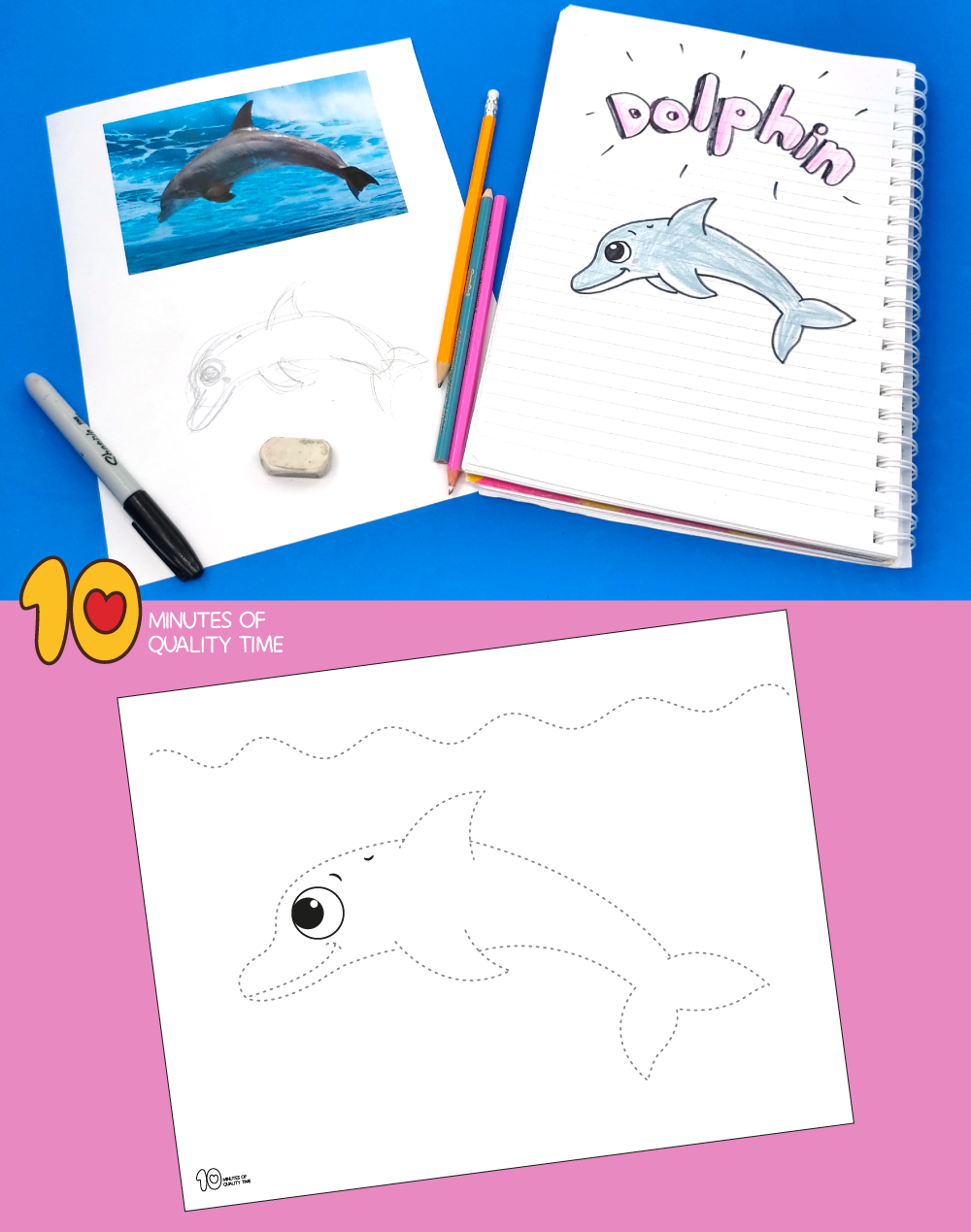 how to draw a dolphin easy