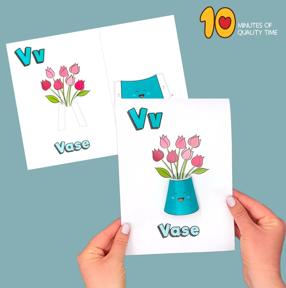 letter v craft vase